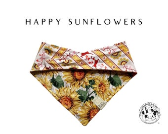 Happy Sunflowers : Sunflowers with Floral and Striped Deer Print Tie/On Reversible Dog Bandana