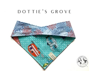 Dottie's Grove : Campers and Red,  White & Blue Fireworks Tie/On Reversible Dog Bandana