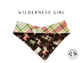 Wilderness Girl : Woodland Animals with Glitter Plaid Tie/On, Reversible Bandana