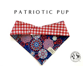 Patriotic Pup : Summer Red, White & Blue Tie/On, Reversible Dog Bandana