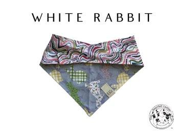 Spring Bunnies and Pastel Swirls Bandana // White Rabbit : Tie/On, Reversible Dog Bandana
