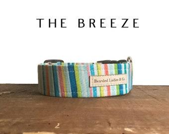 Summer Dog Collar // The Breeze : Bright Multicolored Striped Dog Collar