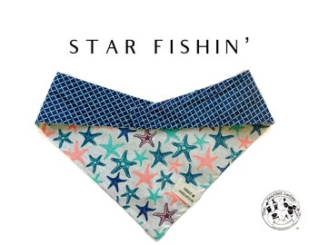 Star Fishin' : Star Fish and Summer Blue Plaid Tie/On, Reversible Dog Bandana