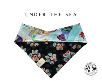Under the Sea : Under Water Sea Life with Floral Paws Tie/On Reversible Dog Bandana