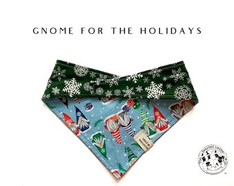 Gnome For The Holiadys : Winter Holiday Gnomes Tie/On, Reversible Dog Bandana