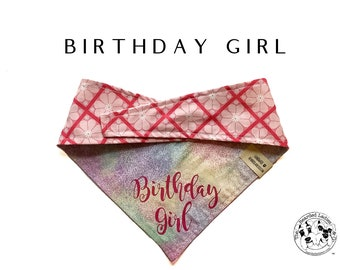Birthday Girl : Pastel Burst and Floral Birthday Girl Tie/On Reversible Dog Bandana