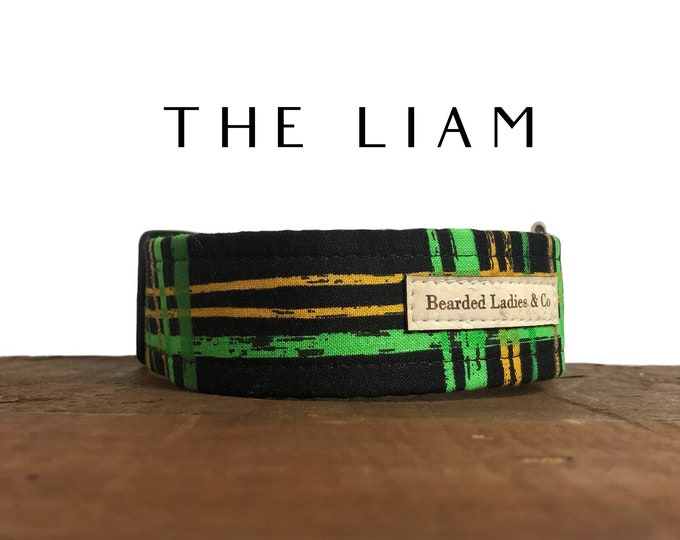 Featured listing image: The Liam : Black, Green and Gold Plaid Dog Collar