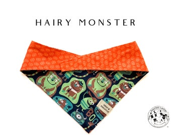 Hairy Monsters : Halloween Monsters with Mini Pumpkins Tie/On, Reversible Dog Bandana