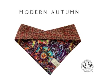 Modern Floral : Artsy Floral and Leaves Tie/On Reversible Dog Bandana