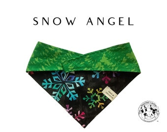 Snow Angel : Multi Colored Snowflakes and Trees Tie/On Reversible Dog Bandana