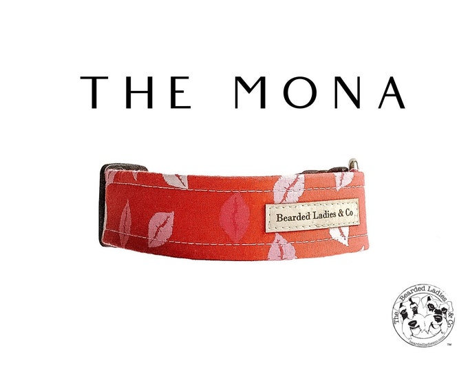 Featured listing image: The Mona : Pink and Red Kisses Dog Collar