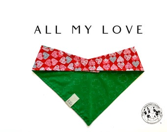 All My Love : Gold Shamrock and Hearts Tie/On, Reversible Dog Bandana