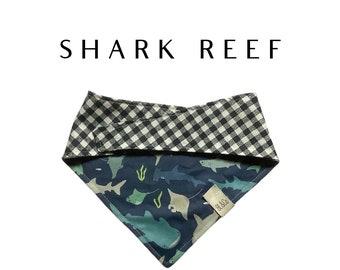 Shark Dog Bandana // Ocean Life Bandana : Shark Reef Tie/On Reversible Dog Bandana