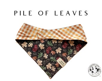 Pile Of Leaves : Fall Harvest Leaves Tie/On, Reversible Dog Bandana