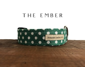 The Ember: Holiday Green with White Polka Dots Dog Collar