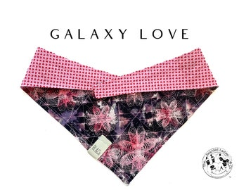 Galaxy Love : Pink Geometric with Hearts Tie/On, Reversible Dog Bandana
