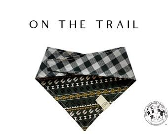 Outdoor Animal Tracks and Checkered Dog Bandana  // On The Trail : Animal Tracks & Black and Gray Large Check Tie/On, Reversible Dog Bandana