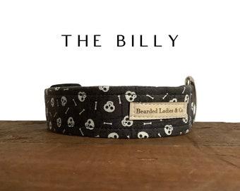 The Billy : Skulls and Bones with Gray Halloween Dog Collar