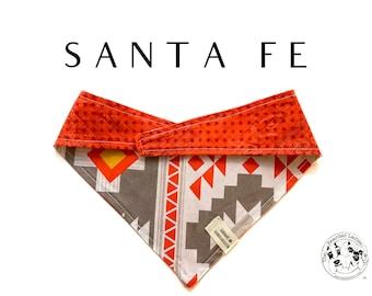 Santa Fe : Southwest Inspired and Orange Tie/On, Reversible Dog Bandana