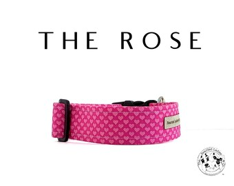 The Rose : Pink Heart Dog Collar