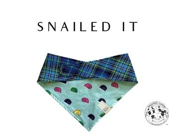 Plaid & Snails Tie/On, Reversible Dog Bandana