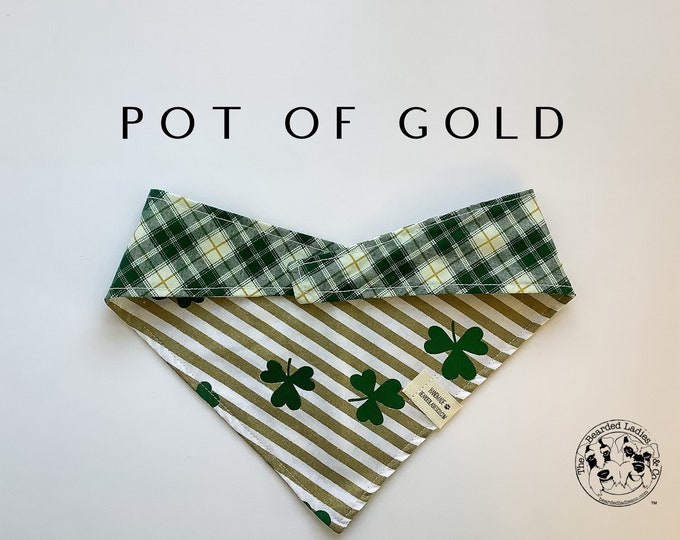 Featured listing image: Pot Of Gold : Reversible , Tie/On, Reversible Dog Bandana