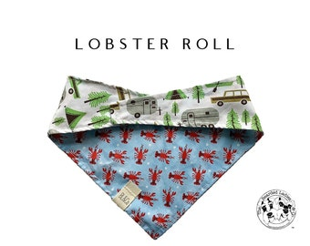 Lobster Roll : Lobsters with Campsites Tie/On Reversible Dog Bandana