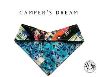 Camper's Dream : Campers with Blue Burst Paws Tie/On Reversible Dog Bandana