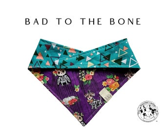 Bad to the Bone : Assorted Sugar Skull Animals and Triangular Geometric Print Tie/On Reversible Dog Bandana