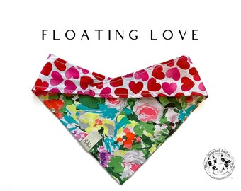 Floating Love : Floral with Large Hearts Tie/On, Reversible Dog Bandana