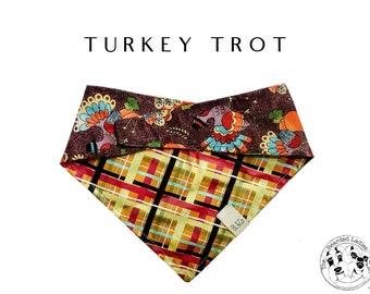 Yellow and Burgundy Plaid with Multicolored Turkey Tie/On, Reversible Dog Bandana // Turkey Trot : Thanksgiving Bandana