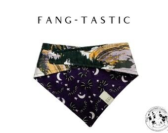 Bats with Naturescape Tie/On, Reversible Dog Bandana // Fang-Tastic : Spooky Black and Silver Bats Bandana