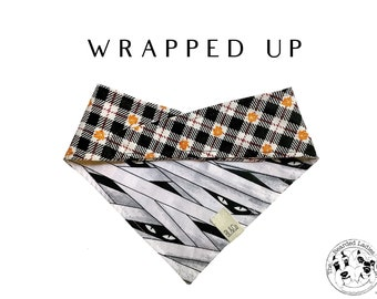 Fall Plaid with Mummies Tie/On, Reversible Dog Bandana // Wrapped Up : Halloween Bandana