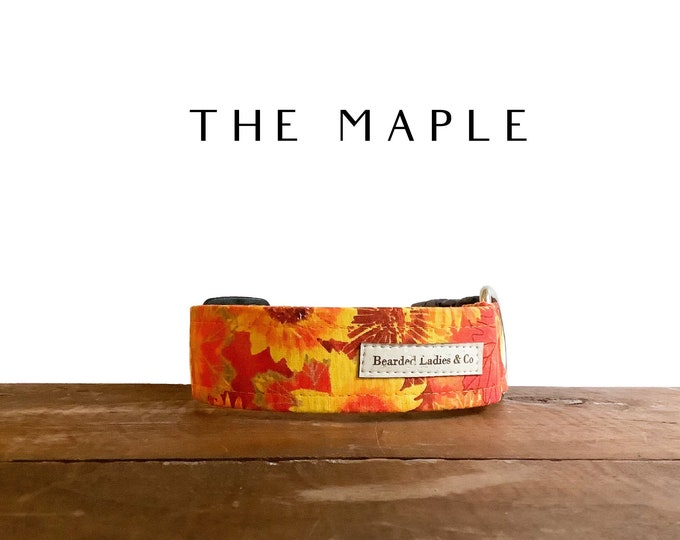 Featured listing image: Bright Sunflower Dog Collar  // The Maple : Floral & Leaves Autumn Dog Collar