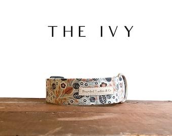Gray, Navy & Orange Dog Collar // The Ivy : Autumn Floral Dog Collar
