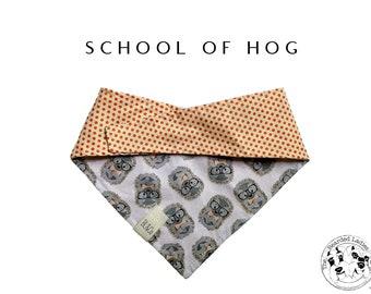 Nerdy Hedgehogs with Polka Dots Tie/On, Reversible Dog Bandana // School of Hog : Hedgehogs with Orange Polka Dots Bandana