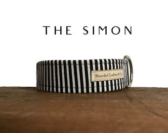 Black & White Dog Collar // The Simon : Striped Dog Collar