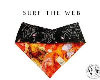 Orange Slick & Spiders Tie/On, Reversible Dog Bandana // Surf The Web : Halloween Spiders and Spider Webs Bandana
