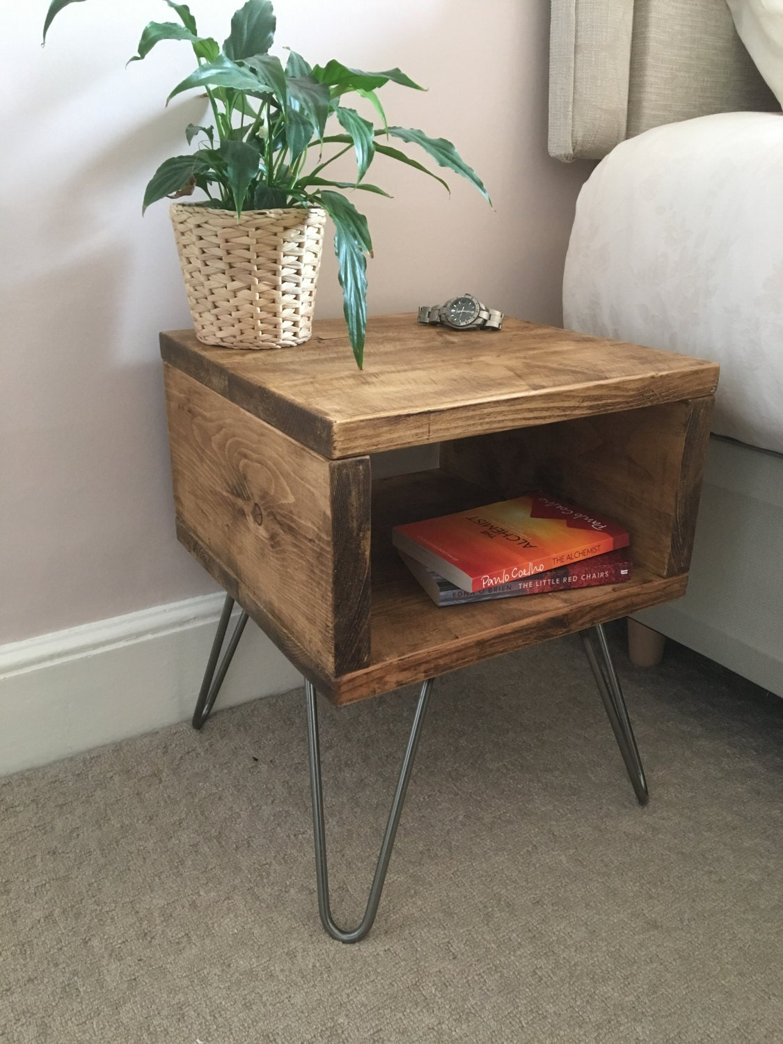 Rustic Wooden Bedside Table Night Stand Made From