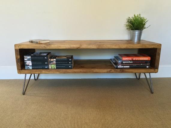 Rustikale Holz Tv Stander Tisch Im Wohnzimmer Etsy