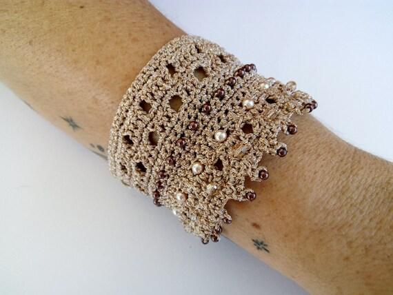 Häkeln Sie Armband Armreif Armband Gold Armband gestrickt | Etsy