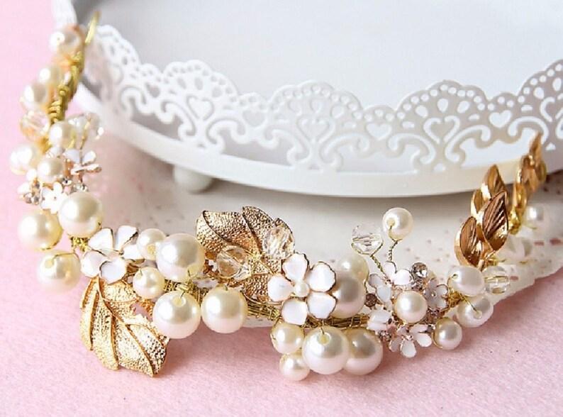 Vintage Bridal Hair Vine Leaf Headband Flower Hair Band Pearl Crystal Hair Comb Gold Wedding Tiara Rhinestone Hair Vine Crystal Hair Vine