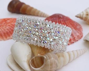 Swarovski Crystal Bridal Bracelet Swarovski Cuff Bracelet Wedding Rhinestone Bracelet Bridal Bracelet Wedding Jewelry Bride Accessosy