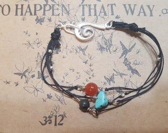 Beaded Gemstone Trio Bracelet