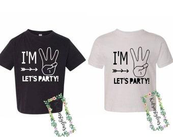 3276186e Third Birthday Shirt, I'm Three Let's Party, Boy Birthday, Boy T-Shirt,  Birthday Tee, 3rd Birthday Shirt, White Birthday Shirt, Black Shirts