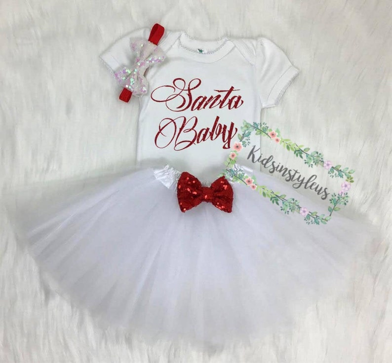 7d76df0c3 My First Christmas Santa Baby outfit Baby First Christmas