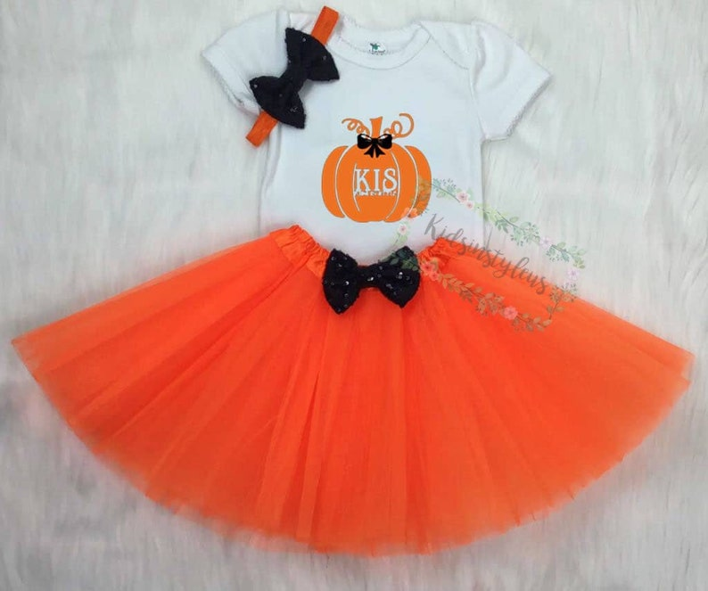 Babys First Halloween Costume Girl.Baby First Halloween Outfit Baby Girl 1st Halloween Outfit Baby First Halloween Costumes Girl Orange Black Baby Halloween Outfit Tutus