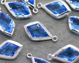 AX020 2-Square Jewel Charms ROYAL BLUE Colored Glass Drop Gem Jewels 12mm Antique Bronze Plated Brass Bezel Light Green
