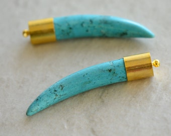 TP101-TQ Tibetan Horn Tusk tooth Pendant Turquoise Inlaid with brassgold cap