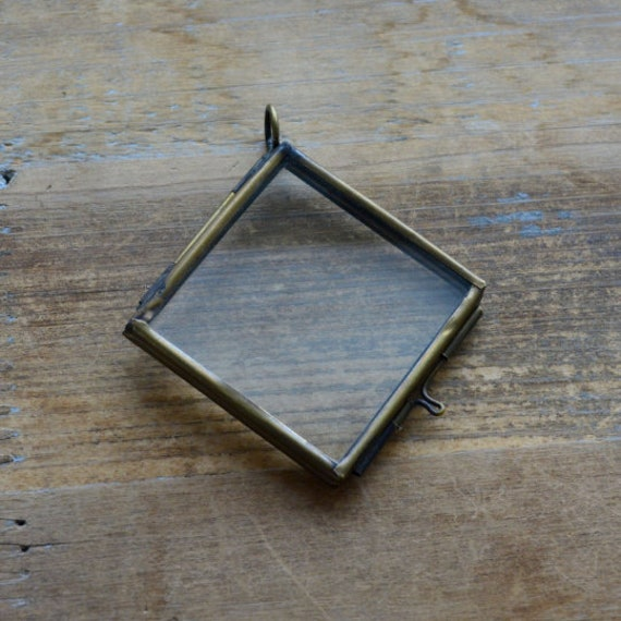 Bronze Glass Frame Pendant Diamond Shape Double Sided Glass Etsy